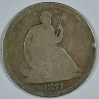 1871 SEATED LIBERTY CIRCULATED SILVER HALF   SEE STORE FOR DISCOUNTS RD56