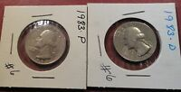1983 P&D CIRCULATED WASHINGTON QUARTERS  6  HOLE FILLERS