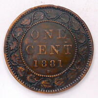 1881H LARGE CENT VF  DATE AFFORDABLE HIGH GRADE VICTORIA OLD CANADA PENNY