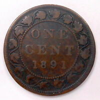 1891 LDLL OBV.3 LARGE CENT VG AFFORDABLE  DATE KEY VICTORIA CANADA PENNY