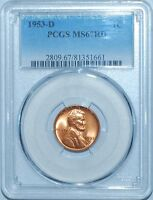 1953 D PCGS MINT STATE 67RD RED LINCOLN CENT