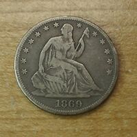 1869 LIBERTY SEATED SILVER HALF DOLLAR VF ORIGINAL 50C US TYPE COIN TOUGH DATE