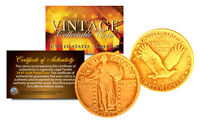 1916 1930 ORIGINAL 24K GOLD PLATED STANDING LIBERTY PURE SILVER US QUARTER COIN