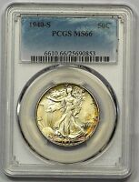 1940 S PCGS MS 66 WALKING LIBERTY HALF DECENT STRIKE SUPERB PERIPHERAL COLOR