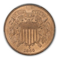 1866 2C TWO CENT PIECE PCGS MINT STATE 65RD