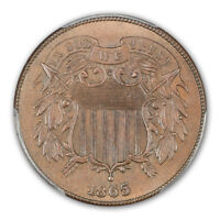1865 2C TWO CENT PIECE PCGS MINT STATE 66BN CAC
