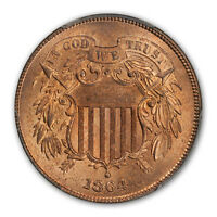 1864 2C LARGE MOTTO TWO CENT PIECE PCGS MINT STATE 66RD