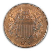 1870 2C TWO CENT PIECE PCGS PR66RB