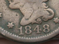 1848 BRAIDED HAIR LARGE CENT PENNY VG/FINE DETAILS