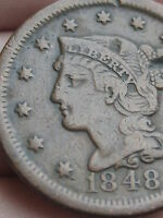 1848 BRAIDED HAIR LARGE CENT PENNY  FINE/VF DETAILS