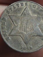 1862 THREE 3 CENT SILVER COIN  VF DETAILS   KEY DATE