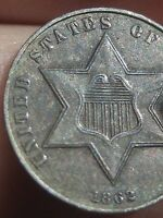 1862 THREE 3 CENT SILVER COIN  XF/AU DETAILS   KEY DATE