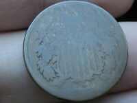 1866 TWO 2 CENT PIECE- CIVIL WAR TYPE COIN- LOWBALL, HEAVILY WORN
