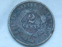 1864 TWO 2 CENT PIECE- CIVIL WAR TYPE COIN- LARGE MOTTO