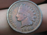 1898 INDIAN HEAD CENT PENNY VG DETAILS FULL RIMS TONED PURPLE/PINK