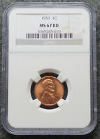 1957 LINCOLN WHEAT CENT NGC MS 67RD RED GEYS