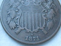 1871 TWO 2 CENT PIECE- FINE/VF DETAILS -  DATE