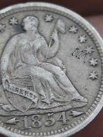 1854 P SEATED LIBERTY HALF DIME  VF/XF DETAILS