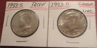 1993 S PROOF KENNEDY HALF DOLLAR 1993 D CHOICE UNC KENNEDY HALF DOLLAR IN 2X2'S