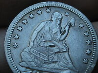 1853 SILVER SEATED LIBERTY QUARTER  ARROWS AND RAYS XF DETAILS