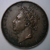 1826 COPPER FARTHING GREAT BRITAIN UK ENGLISH COIN XF EXTRA FINE