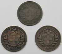 3 SWITZERLAND HELVETIA    2 RAPPEN COINS DATED 1850A 1898B AND 1900B