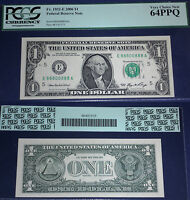 1932  E $ 1FEDERAL RESERVE NOTE ,VIRGINIA,88800888 LUCKY NUMBERS PCGS  64 EPQ