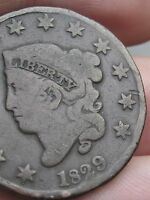 1829 MATRON HEAD LARGE CENT PENNY  MEDIUM LETTERS VG/FINE OBVERSE DETAILS