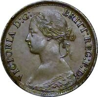 1865 FARTHING VICTORIA ABOUT UNCIRCULATED/GOOD LY FINE.