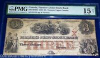 1849 $3 THE FARMERS JOINT STOCK BANK . TORONTO UPPER CANADA. PMG 15
