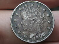 1903 LIBERTY HEAD V NICKEL- VF/EXTRA FINE  DETAILS, FULL DATE