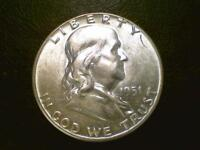 BRILLIANT UNCIRCULATED U.S. COIN1951 P FRANKLIN SILVER HALF DOLLAR BU BR91