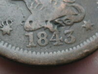 1843 BRAIDED HAIR LARGE CENT PENNY  MATURE HEAD LARGE LETTERS