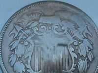 1867 TWO 2 CENT PIECE- CIVIL WAR TYPE COIN, VG DETAILS, FULL DATE