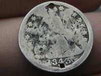 1843 SEATED LIBERTY DIME  HOLED TWICE POSSIBLE BUTTON