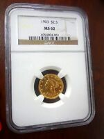 1903 LIBERTY HEAD GOLD $2.5  QUARTER EAGLE NGC MS 62