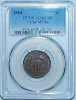 1864 PCGS MINT STATE 65BN LARGE MOTTO 2 CENT PRICE 2C
