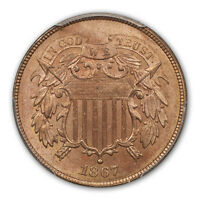 1867 2C TWO CENT PIECE PCGS MINT STATE 65RD