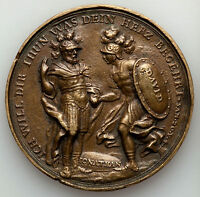 AUGSBURG. FREE CITY BRASS CAST MEDAL ND C.1700 VF 54MM BY MUELLER
