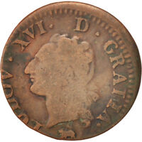 [415234] FRANCE LOUIS XVI LIARD LIARD 1791 ROUEN COPPER KM:585.3