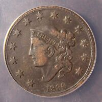 1830 CORONET HEAD LARGE CENT N 1 LARGE LETTERS VF 20