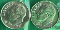 2005 P AND D ROOSEVELT DIME 2 COINS FROM US MINT SET BU CELLOS TEN CENTS TWO 10C