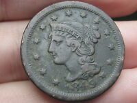 1849 BRAIDED HAIR LARGE CENT PENNY  VF/VERY FINE DETAILS