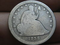 1838 SILVER SEATED LIBERTY QUARTER   KEY DATE