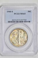 1940-S WALKING LIBERTY 50C HALF DOLLAR PCGS MINT STATE 65 - PRETTY RAINBOW TONING - COLOR