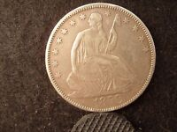 1858 50C LIBERTY SEATED HALF DOLLAR  HALVE EXTRA FINE XF NEARLY AU