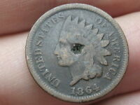 1864 INDIAN HEAD CENT PENNY BRONZE NO L COUNTERSTAMPED VG DETAILS