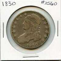1830 50C CAPPED BUST HALF DOLLAR. CIRCULATED. LOT 1560