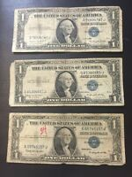 1935 ONE DOLLAR WELL CIRCULATED NOTES   SILVER CERTIFICATES W/ MOTTO   LOT OF 25