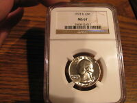 1972 D WASHINGTON QUARTER NGC MS67 NICE